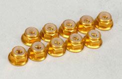 4Mm Fl. Nyloc - Anodised Gold - t-mx-nut413
