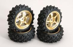Gold Wheel W/Spike Tyre Pk4 - z-rmx-4sg
