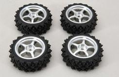 Silver Wheel W/Spike Tyre Pk4 - z-rmx-4ss