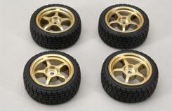 Gold Wheel W/Tread Tyre Pk4 - z-rmx-4tg